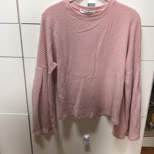 Project Social T pink top with Bell Sleeves